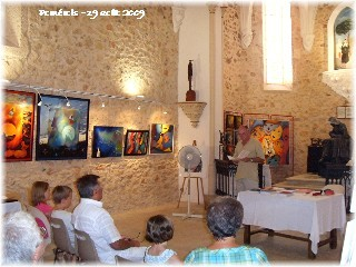 Michel SIDOBRE lit à la Chapelle de Pomérols